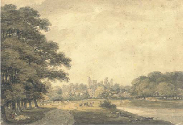 Thames landscape with a church