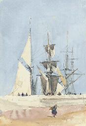 Sailing vessels preparing for
