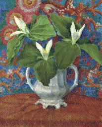 Flowers in a two-handled vase