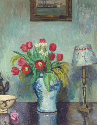 Tulips in a vase, with Matisse