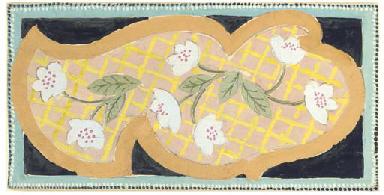 Design for rug, white flowers