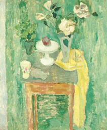 Green still life with roses