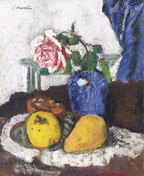 Fruit and pink rose in a blue
