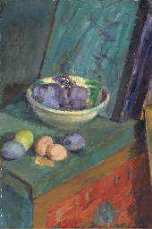 Plums on a painted box