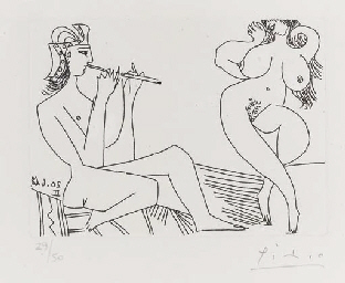 Flûtiste Grec et danseuse, Pla