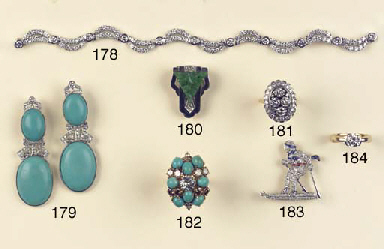 A DIAMOND, SAPPHIRE AND RUBY B