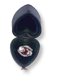 (+case)  AN ANTIQUE RUBY AND D
