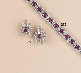 A RUBY AND DIAMOND BRACELET AN