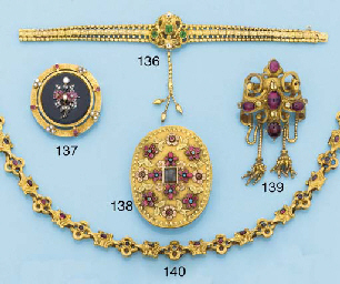 A 19th century gold and gem se