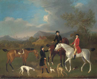 A coursing party in a landscap