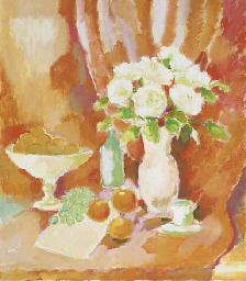 Witte rozen en appelsienen