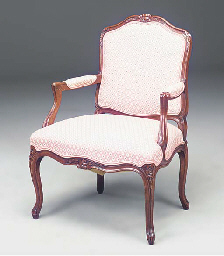 A PAIR OF STAINED BEECH FAUTEU