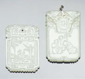 Two pale celadon jade pendants