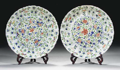 A pair of famille verte shaped