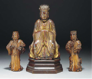 A gilt lacquered wood model of