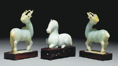 Three jadeite animal carvings,