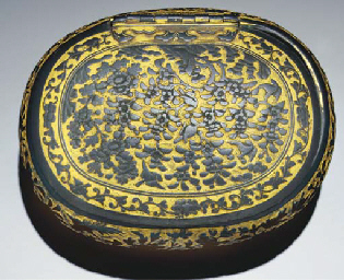 A gilt-bronze rounded oval box