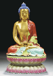 A famille rose model of Buddha