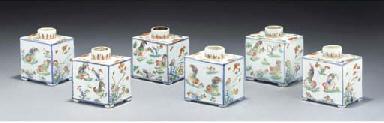 Six famille verte square tea c