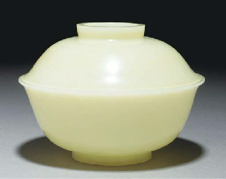A pale celadon jade bowl and c