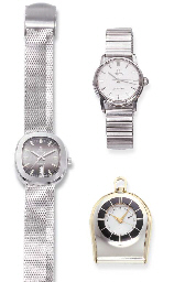 TWO STEEL WRISTWATCHES, BY OMEGA AND EBEL AND A PENDANT WATCH, BY JAGER...