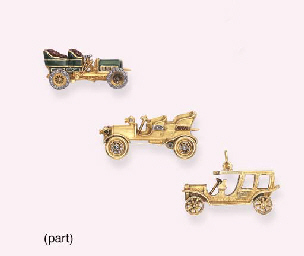 FIVE GOLD CLASSIC CAR BROOCHES