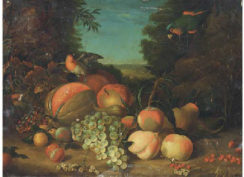 Still life of grapes, peaches,