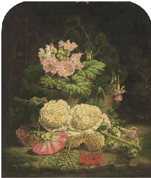 Summer flowers on a mossy bank