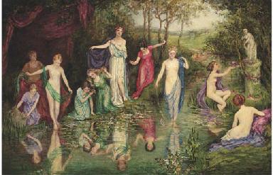 Bathing nymphs