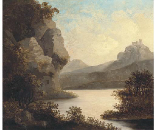 View of a lake, with a castle