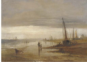 Figures on a beach, low tide