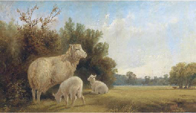 Ewe and lambs in a landscape,