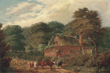Cattle and sheep before a cott