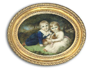 Sir Francis Ford (1787-1839) and his sister, Mary (d. 1872), as children lying with their brown and white dog on a grassy bank; he, in blue suit with gold buttons and tied white scarf and she, in white dress with pink sash; foliate background with sheep beyond