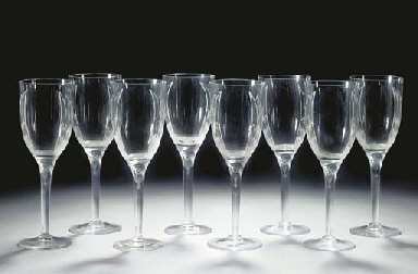 EIGHT POST-WAR CHAMPAGNE FLUTE