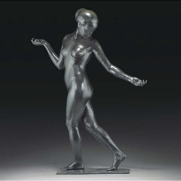 A large patinated bronze figur