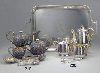 (7) A Three-Piece Russian Enamelled Silver Tea Service