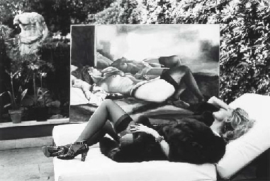 Countess Marta Marzotto in her garden with her Portrait by Renato Guttuso