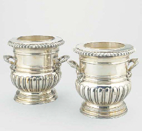 A PAIR OF SILVER-PLATE WINE CO