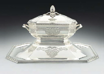 A FRENCH SILVER SOUP TUREEN, S