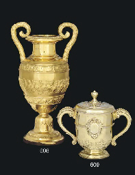 A Victorian silver-gilt two-ha
