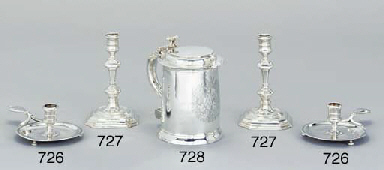A pair of George I silver cand