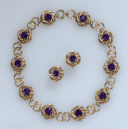 A SUITE OF RETRO AMETHYST AND GOLD JEWELRY, BY TIFFANY & CO.