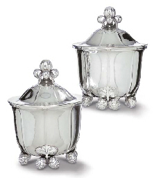 A PAIR OF SILVER WINE COOLERS DESIGNED BY GEORG JENSEN