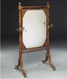 A mahogany cheval mirror