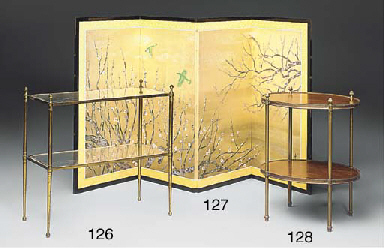 A BRASS TWO-TIER ETAGERE