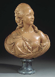 A PAINTED PLASTER BUST OF MADA