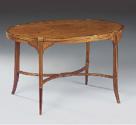 AN OVAL SATINWOOD AND INLAID O