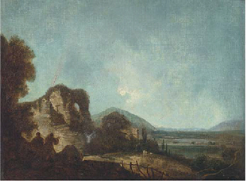 Figures in a landscape, with r