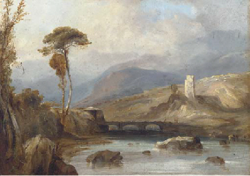 Figures on a bridge, with ruin